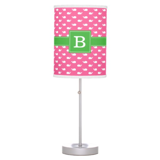 Pink and Green Whimsical Whales Pattern Monogram Table Lamp