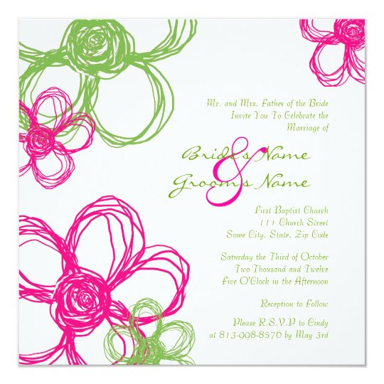 Wild Flowers For Weddings: Pink And Green Wild Flowers Wedding Invitation