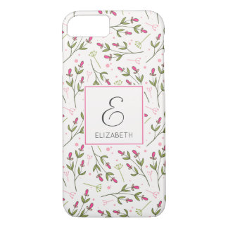 Pink and Green Wildflowers Pattern Monogram iPhone 8/7 Case