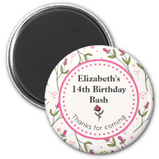 Pink and Green Wildflowers Thank You Birthday Magnet