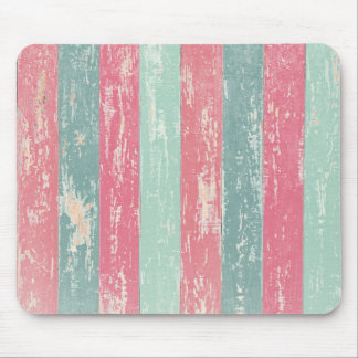 Pink and green wooden fence texture mouse pad