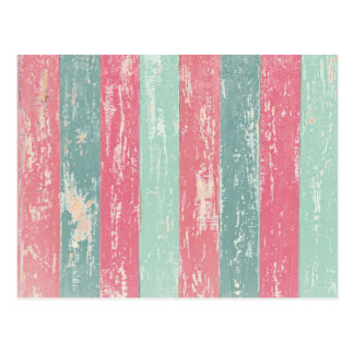 Pink and green wooden fence texture postcard