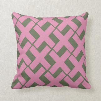 Pink and green Xs Throw Pillow