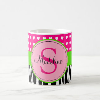 Pink and Green Zebra monogrammed mug