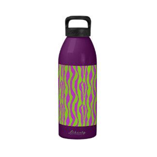Pink and Green Zebra Print Reusable Water Bottle