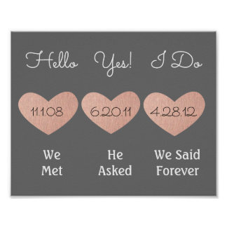 Pink and Grey Anniversary Sign | Wedding Gift