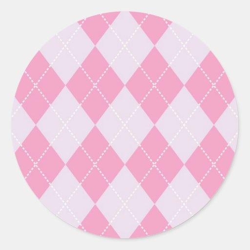 Pink and Grey Argyle Pattern Classic Round Sticker