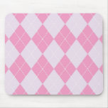 Pink and Grey Argyle Pattern Mouse Pad