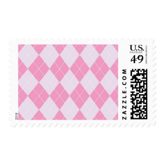 Pink and Grey Argyle Pattern Postage Stamp