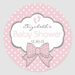 Pink and Grey-Baby Shower Classic Round Sticker