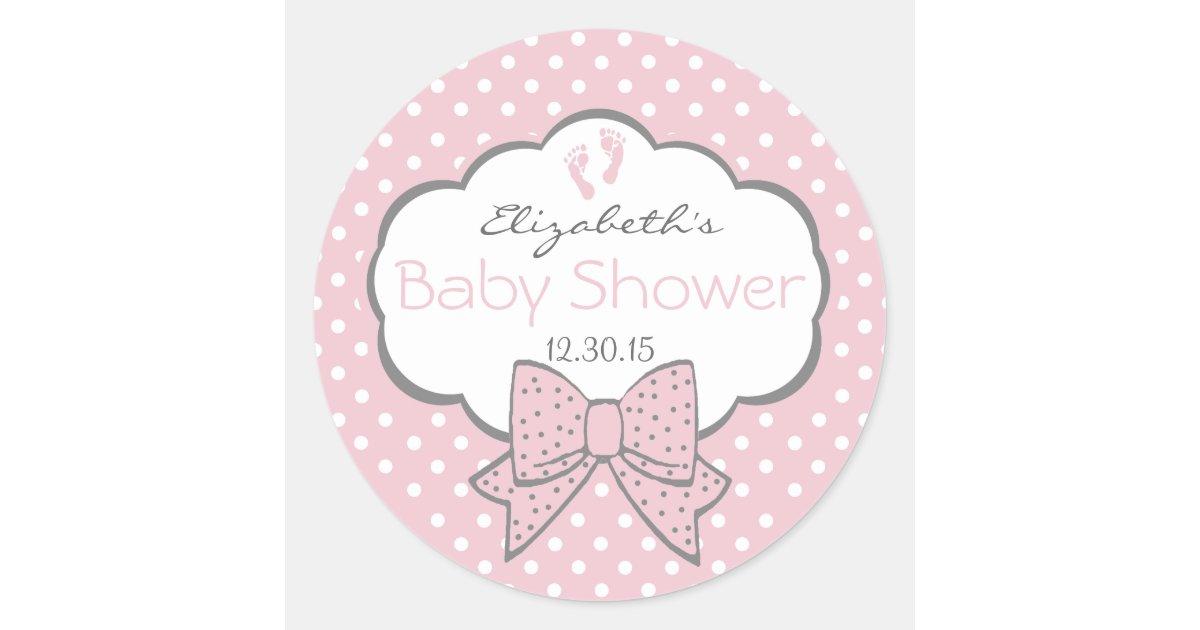 Pink And Grey Baby Shower Classic Round Sticker Zazzle Com