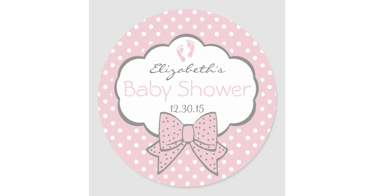 Pink And Grey Baby Shower Classic Round Sticker Zazzle