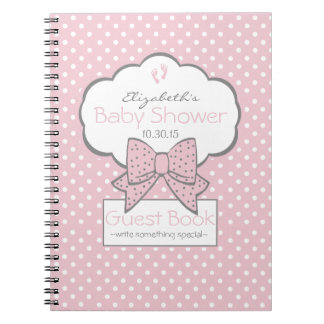 Pink and Grey- Baby Shower Guest Book- Notebooks