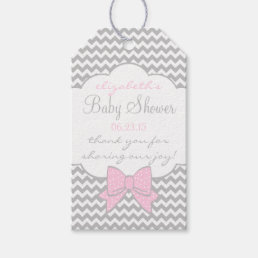 Pink and Grey Baby Shower Guest Favor Thank You Gift Tags