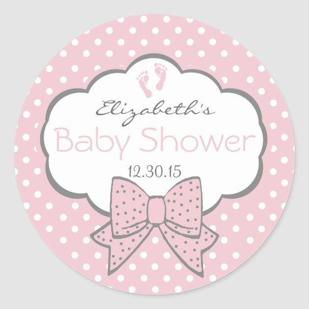 Pink And Grey Baby Shower Stickers