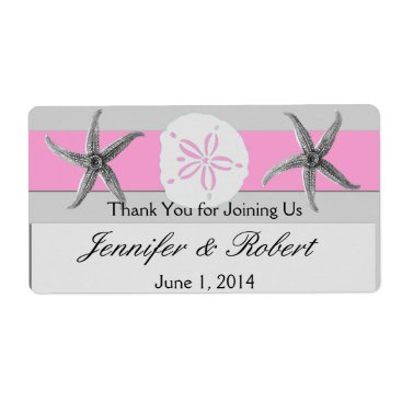 Beach Themed Pink and Grey Band Wedding Water Bottle Label