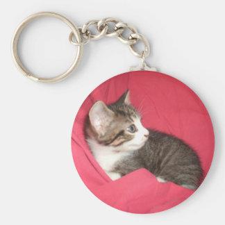 Pink and Grey Basic Round Button Keychain
