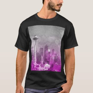 Pink and Grey Bokeh Seattle Skyline T-Shirt