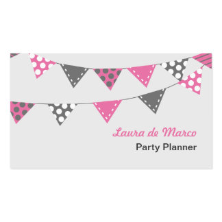 Pink and Grey Bunting Party Planner Business Card