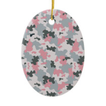 Pink and Grey Camouflage Ceramic Ornament