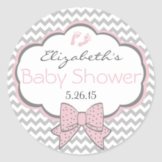 Pink and Grey Chevron-Baby Shower Classic Round Sticker
