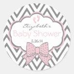 Pink and Grey Chevron-Baby Shower Round Sticker