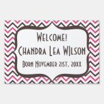 Pink and Grey Chevron Design Yard Sign