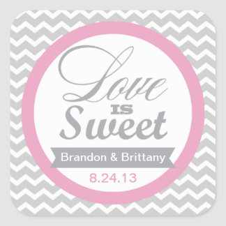 Pink and Grey Chevron Favor Stickers