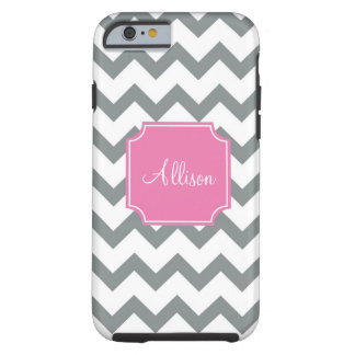 Pink and Grey Chevron iPhone 6 Case