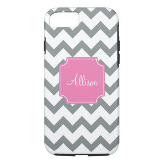 Pink and Grey Chevron iPhone 8/7 Case