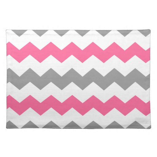 Pink and Grey Chevron Placemat Cloth Placemat