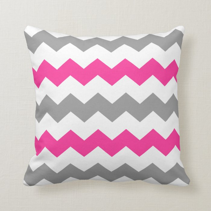 Grey And Pink Decorative Pillows : Pink and Grey Chevron Throw Pillow Zazzle