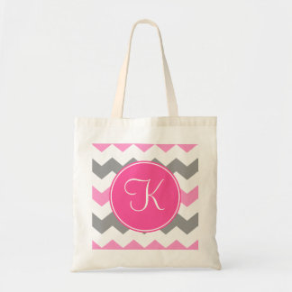 Pink and Grey Chevron with Pink Monogram Budget Tote Bag