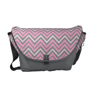 Pink and Grey Chevrons Pattern Messenger Bag