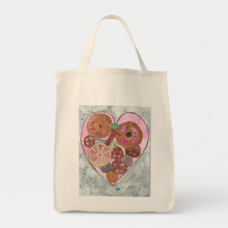 Pink and Grey Clockwork Heart Grocery Tote