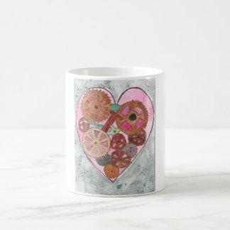 Pink and Grey Clockwork Heart Mug