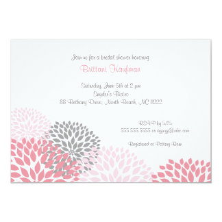 Pink and Grey Dahlia Bridal Shower Invite