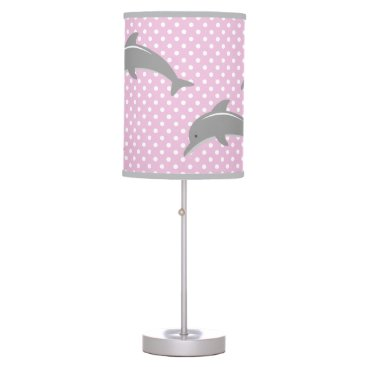 Beach Themed Pink and grey dolphin polka dots nursery lamp