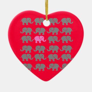 Pink and Grey Elephant Art Ceramic Ornament