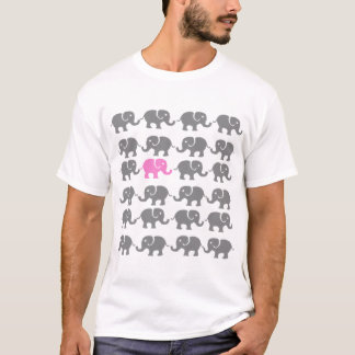 Pink and Grey Elephant Art T-Shirt