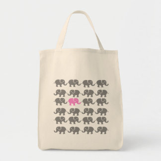 Pink and Grey Elephant Art Tote Bag