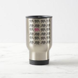 Pink and Grey Elephant Art Travel Mug