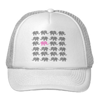 Pink and Grey Elephant Art Trucker Hat