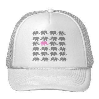 Pink and Grey Elephant Art Trucker Hat