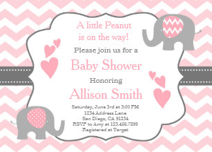 Pink elephant invitations announcements zazzle pink and grey elephant baby shower invitation filmwisefo