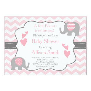 Great Pink And Grey Elephant Baby Shower Invitation