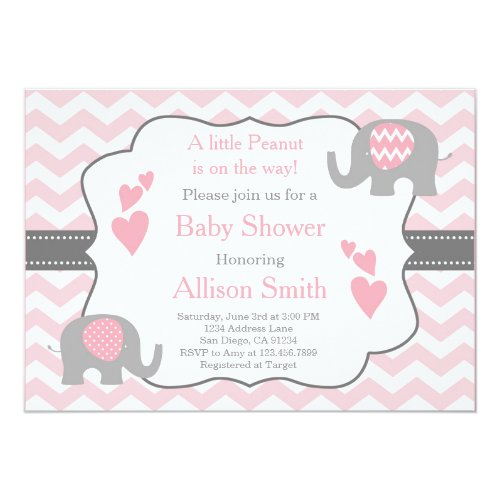 Pink and Grey Elephant Baby Shower Invitation