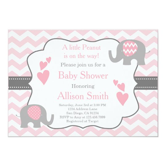 Pink And Grey Elephant Baby Shower Invitation Zazzle