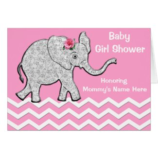 Pink and Grey Elephant Baby Shower Invitations Greeting Card