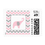 Pink and Grey Elephant Chevron Girl Baby Shower Postage